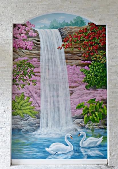 Mural: Waterfall with Swans, Mural Mural On The Wall Inc