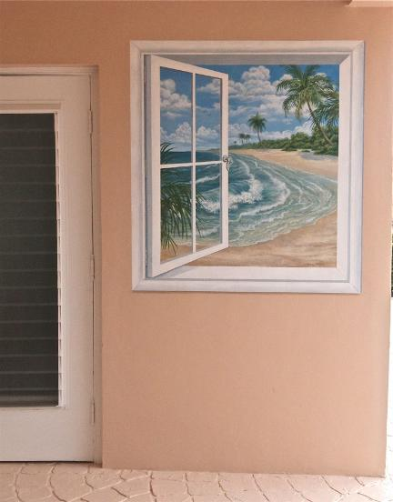 Faux Window to the Beach, Mural Mural On The Wall Inc.