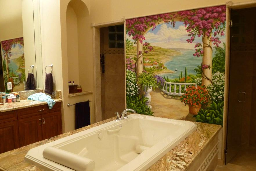 Tuscan Landscape Mural above Roman Bathtub, Mural Mural On The Wall, Inc.