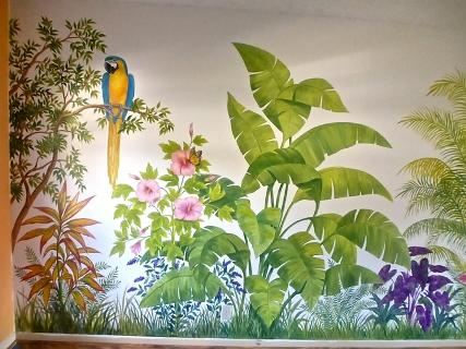 Parrot with Tropical Foliage Mural,  Mural Mural On The Wall, Inc.