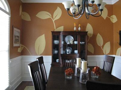 Decorative Leaf Design Mural - Mural Mural On The Wall, Inc.