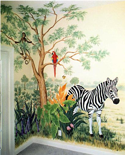 Children's mural, Zebra mural, Mural Mural On The Wall, Inc.