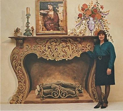 Ornate Trompe L'Oeil Fireplace,  Mural Mural On The Wall  Inc.