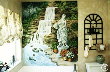 Bathroom Mural: Waterfall & Statue, Mural Mural On The Wall Inc.